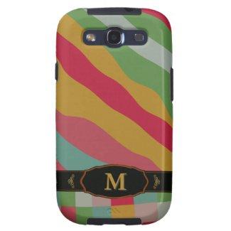 Colorful Retro Stripe Monogram Pattern Samsung S3 Samsung Galaxy S3 Case