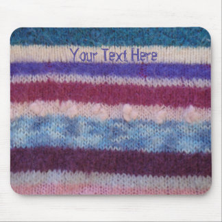 colorful retro style knitted stripes fun design mouse pad