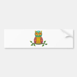 colorful retro style owl design bumper sticker
