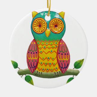 colorful retro style owl design ceramic ornament