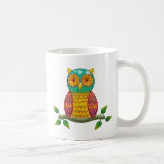 colorful retro style owl design coffee mug