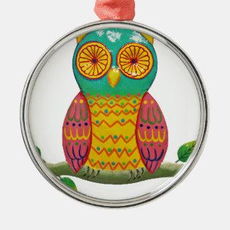 colorful retro style owl design metal ornament