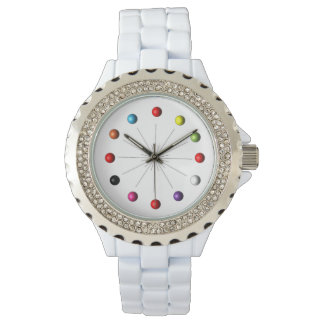 Colorful Retro Style Star Burst Atomic Spheres Wristwatch