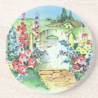 Colorful Retro Style Vintage Country Flower Garden Beverage Coaster