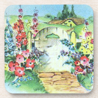 Colorful Retro Style Vintage Country Flower Garden Drink Coaster