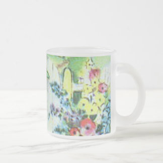 Colorful Retro Style Vintage Country Flower Garden Frosted Glass Coffee Mug