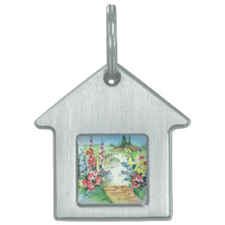 Colorful Retro Style Vintage Country Flower Garden Pet Tag