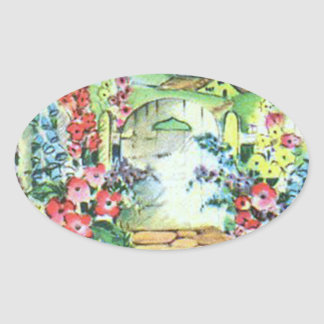 Colorful Retro Style Vintage Country Flower Garden Oval Stickers