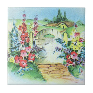 Colorful Retro Style Vintage Country Flower Garden Tile