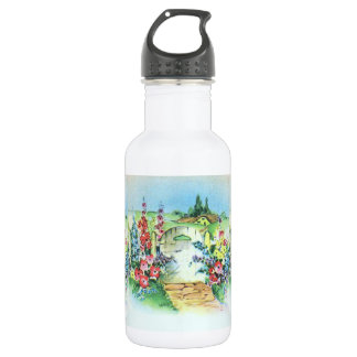 Colorful Retro Style Vintage Country Flower Garden Water Bottle