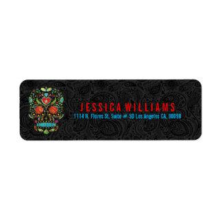 Colorful Retro Sugar Skull 3 On Black Damasks Label