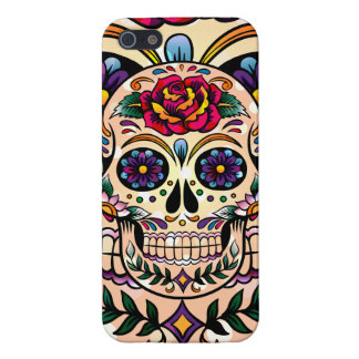 Colorful Retro Sugar Skull Flowers & Roses Cover For iPhone 5