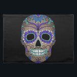 """Colorful Retro Sugar Skull Placemat<br><div class=""""desc"""">This is a gorgeous Day of the Dead Sugar Skull with vivid colors.</div>"""