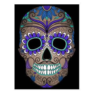 Colorful Retro Sugar Skull Postcard