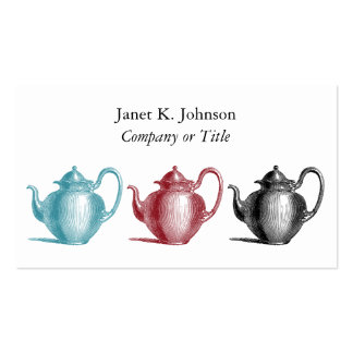 Colorful Retro Teapots Custom Personal or Company Business Card