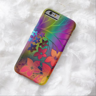 Colorful Retro Tie-Dye Rainbow Floral Pattern Barely There iPhone 6 Case