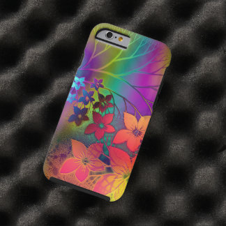 Colorful Retro Tie-Dye Rainbow Floral Pattern Tough iPhone 6 Case