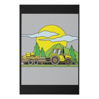 Colorful Retro Tractor In Nature Faux Canvas Print