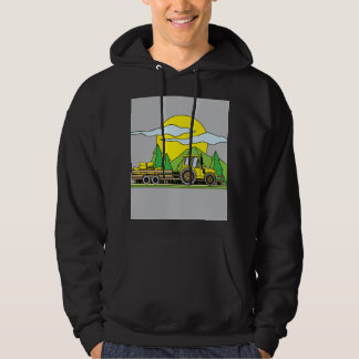 Colorful Retro Tractor In Nature Hoodie