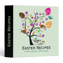 Colorful Retro Tree With Easter Eggs & Birds 2 Binder