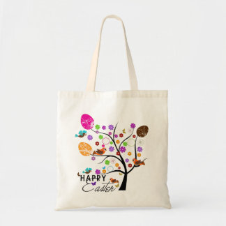 Colorful Retro Tree With Easter Eggs & Birds 2 Tote Bag