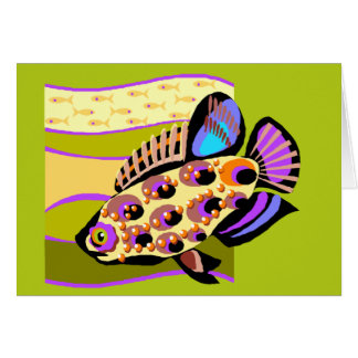 Colorful Retro Tropical Fish Greeting Cards