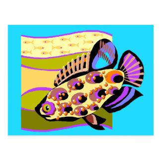 Colorful Retro Tropical Fish Postcards