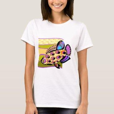 Beach Themed Colorful Retro Tropical Fish T-Shirt