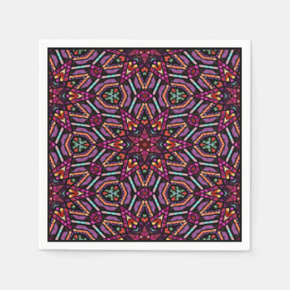 Colorful Retro Turkish Mosaic Kaleidoscope Pattern Disposable Napkins