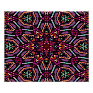 Colorful Retro Turkish Mosaic Kaleidoscope Pattern Poster