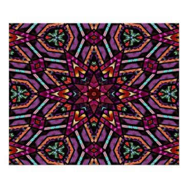 CozyLivin Colorful Retro Turkish Mosaic Kaleidoscope Pattern Poster
