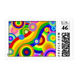 Colorful Retro Wavy Dots Postage