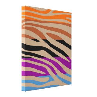 Colorful Retro Zebra Stripe Pattern 11 Canvas Print