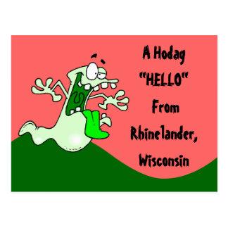 Colorful Rhinelander WI Hodag Hello POSTCARD
