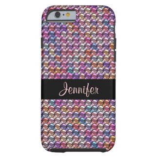 Colorful Rhinestone with custom name Tough iPhone 6 Case