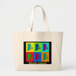 Colorful Rhode Island Pop Art Map Canvas Bags