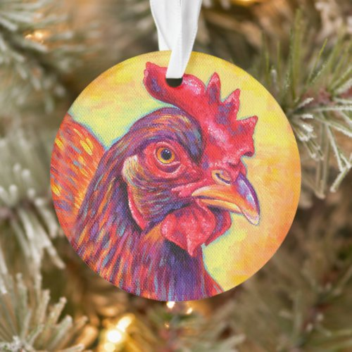 Colorful Rhode Island Red Chicken Acrylic Ornament