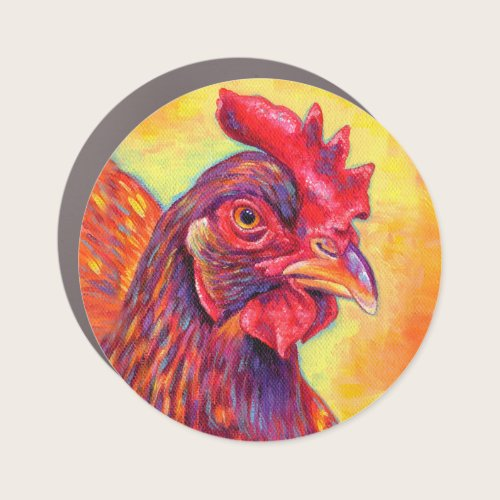 Colorful Rhode Island Red Chicken Car Magnet