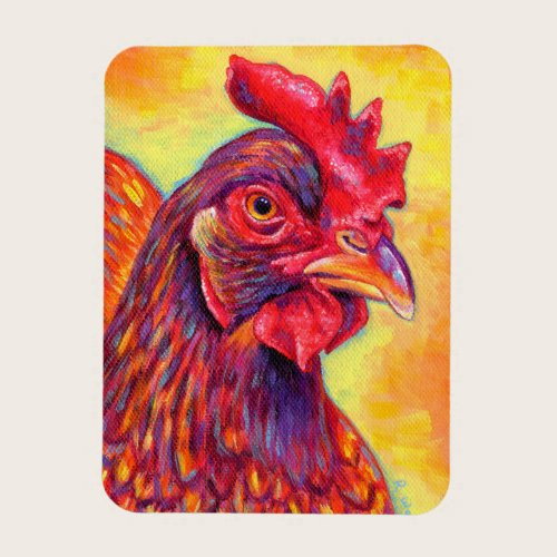 Colorful Rhode Island Red Chicken Flexible Magnet