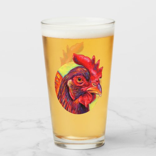 Colorful Rhode Island Red Chicken Glass Cup