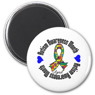 Colorful Ribbon - Autism Awareness Month 2 Inch Round Magnet