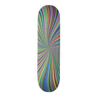 Colorful Ribbon Swirl Spiral Optical Art Skateboard Deck