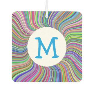 Colorful Ribbon Swirls Monogrammed Spiral Art Air Freshener