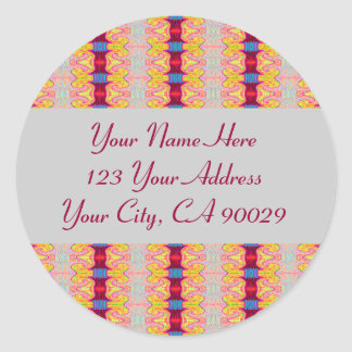 Colorful ribbons address labels classic round sticker