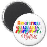 Colorful Ribbons - Awareness Matters Refrigerator Magnet