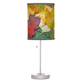 Colorful Rice Paper Table Lamp With Maple Leaves