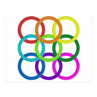 Colorful ring pattern postcard