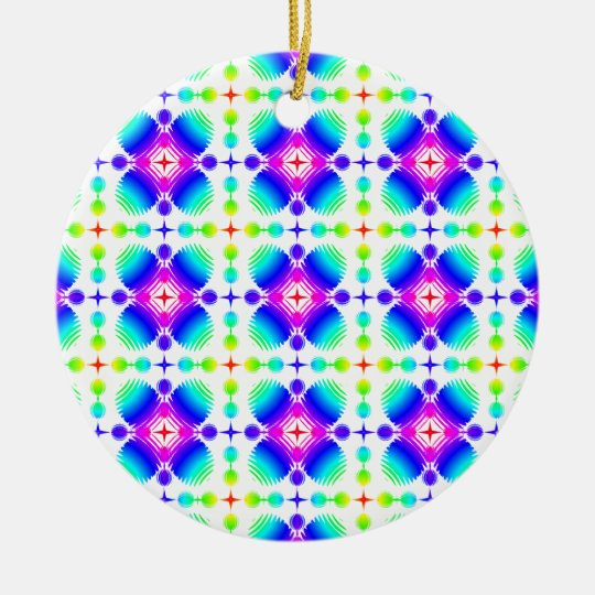 Colorful Ripples Small Transparent Ceramic Ornament
