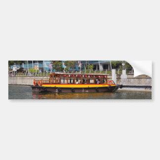 Colorful river cruise boat in Singapore Car Bumper Sticker