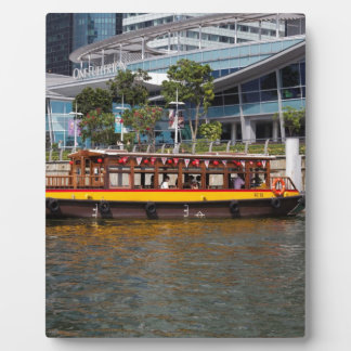 Colorful river cruise boat in Singapore Display Plaque